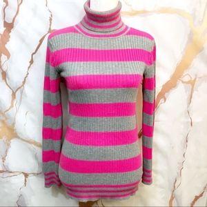 🔴L.e.i. Turtleneck retro pink grey stripe sweater